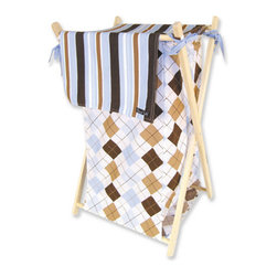 """Trend Lab - Hamper Set - Prep School Blue - Trend Lab's Prep School Blue Hamper Set is a decorative solution for quick clean up. The argyle print body with stripe print outer flap easily attaches to the collapsible pine wood frame. The fashionable color palette of sky blue, chocolate brown, caramel and white make this hamper suitable for any room of the house. Machine washable inner mesh liner is removable making the transport of laundry effortless. Assembled hamper measures 27"""" x 15"""" x 15"""". This hamper coordinates with the Prep School Blue collection."""