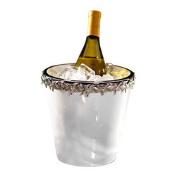White Ceramic Wine Cooler with Starfish Metal Trim - A delightful metal starfish trim is the star of this stunning ceramic wine cooler. Ideal for your transitional or coastal decor, this collection also features a large bowl and matching oval platter that complete the look wonderfully. Serve your finest Pinot Grigio or Riesling as it chills in a most unique vessel that is guaranteed to garner attention from your guests of honor.
