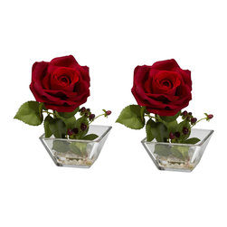 Nearly Natural - Rose with Square Vase Silk Flower Arrangement (Set of 2) - You know, sometimes, the Rose looks best on its own. And this beautiful Rose w/ Square vase set is the perfect representation of such. With a stately bloom and lush buds, this is the ideal 'stand-alone' piece for an area that needs some life, but doesn't want to be overwhelmed. And, of course, there are two of them, so you get double the beauty. Comes in an elegant square vase w/ faux water.