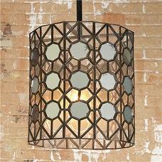 Outdoor Hanging Lights Antiqued Mirror Hex Lantern - Shades of Light