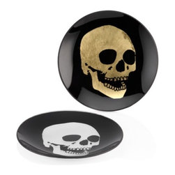 Z Gallerie - Morton Skull Appetizer Plate - Sets of 4 - Serve in high style with our effortlessly chic Morton Skull Appetizer Plates. Decoratively cast with a metallic hued skull juxtaposed against a black background, our Morton Skull Appetizer Plates will awaken the attitude within. For double the impact, pair together with our coordinating Morton pieces, including the Morton Skull Coasters and Mortini Stemware.  Morton Skull Appetizer Plates are available in either Gold or Silver. Exclusive to Z Gallerie. Sold separately in sets of four.