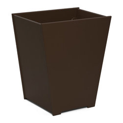 Loll Designs - Taper Planter 15 Gallon, Chocolate Brown - The Loll Flora Collection was created to work in a variety of outdoor garden settings. The recycled and recyclable poly material is made to withstand the test of time and extreme weather. In addition, the joinery on our modern containers allow for a slow, seeping drainage and holes can easily be drilled in the bottom if desired. All pieces are flat-packed with simple, fun, and intuitive assembly.