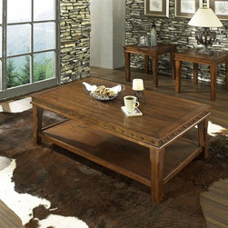 Steve Silver Co. - Odessa Occasional Table 3 Pc Set in Warm Ches - Includes: 1 Cocktail table & 2 End tables. Nailhead accent trim. Cocktail table features a shelf for added functionality. Multi-step Warm Chestnut finish. Southwestern style. Corner block construction. Tongue and groove joints. Select hardwood solids material. Some assembly required. Select hardwood solids material. Cocktail table: 50 in. L x 28 in. W x 20 in. H. End table: 24 in. L x 24 in. W x 22 in. H. Total weight: 98 lbs.
