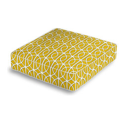 Yellow Modern Trellis Box Floor Pillow - Extra seating that is so good looking you won't want to store it away.  Our Box Floor Pillow is perfect for your next coffee table dinner party, fire place snuggle session, or playroom sleepover.  We love it in this rounded trellis in yellow & white on soft lightweight line. your gateway to a chic modern look.