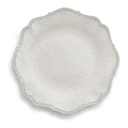 Arte Italica - Merletto Antique Scalloped Dinner Plate - Vintage done white. Dress your table to the nines with this gorgeous plate. It's handmade in Italy of ceramic, so each will vary slightly in color and size for unique character.