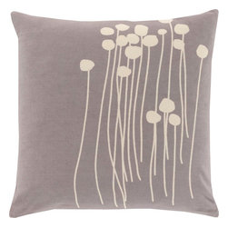 """Surya - Surya LJA-005 Pillow, 22"""" x 22"""", Down Feather Filler - With the personal stamp of creative, inspired design brought to you by Lotta Jansdotter, this piece will embody grace in your space. Made in India in 100% cotton, an etched, hand stamped print in bold beige pops against a vibrantly colored backdrop offers a pillow that will truly be an ideal inclusion from room to room within any home decor."""