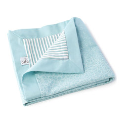 Oilo - Raindrops Play Blanket, Aqua - Turn a questionable area of flooring or carpet into a clean, stylish play space for your baby. Oilo's new line of quilted blankets measure 40x50 inches and feature a a 300 thread count snuggly soft sateen fabric. Accentuated by solid 2-inch flange along the edges.