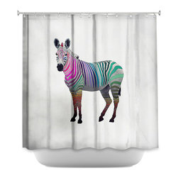 DiaNoche Designs - Shower Curtain Artistic Rainbow Zebra White - DiaNoche Designs works with artists from around the world to bring unique, artistic products to decorate all aspects of your home.  Our designer Shower Curtains will be the talk of every guest to visit your bathroom!  Our Shower Curtains have Sewn reinforced holes for curtain rings, Shower Curtain Rings Not Included.  Dye Sublimation printing adheres the ink to the material for long life and durability. Machine Wash upon arrival for maximum softness. Made in USA.  Shower Curtain Rings Not Included.