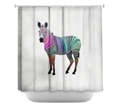 DiaNoche Designs - Shower Curtain Artistic Rainbow Zebra White - DiaNoche Designs works with artists from around the world to bring unique, artistic products to decorate all aspects of your home.  Our designer Shower Curtains will be the talk of every guest to visit your bathroom!  Our Shower Curtains have Sewn reinforced holes for curtain rings, Shower Curtain Rings Not Included.  Dye Sublimation printing adheres the ink to the material for long life and durability. Machine Wash upon arrival for maximum softness on cold and dry low.  Printed in USA.