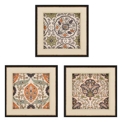 Paragon - Persian Tiles I PK/3 - Framed Art - Each product is custom made upon order so there might be small variations from the picture displayed. No two pieces are exactly alike.