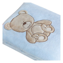 "Blancho Bedding - Lovely BearEmbroidered Applique Polar Fleece Baby Throw Blanket  30.7""-39.4"" - The Embroidered Applique Polar Fleece Baby Kids Throw Blanket measures 30.7 by 39.4 inches. Whether you are adding the final touch to your bedroom or rec-room, these patterns will add a little whimsy to your decor. Machine wash and tumble dry for easy care. Will look and feel as good as new after multiple washings! This blanket adds a decorative touch to your decor at an exceptional value. Comfort, warmth and stylish designs. This throw blanket will make a fun additional to any room and are beautiful draped over a sofa, chair, bottom of your bed and handy to grab and snuggle up in when there is a chill in the air. They are the perfect gift for any occasion! Available in a choice of whimsical kid-friendly prints to spark the imagination, the blanket is durable enough to look great on the go."