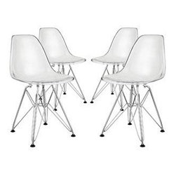 """LexMod - Paris Kids Chair Set of 4 in Clear - Paris Kids Chair Set of 4 in Clear - Introduce your kids to mod while they explore the effects of gravity. Instead of being impressed by the chair's famously deep seat pocket and stylish design, kids will find it more compelling to try and balance themselves on as few legs as possible. The next generation knows why this chair was originally called the chair of """"tomorrow."""" Because it's boring to sit on stationary object that doesn't do anything. Set Includes: Four - Kids Paris Wire Side Chair For playroom or classroom use, Single mold acrylic top, Single mold acrylic top, Plastic Non-Marking Feet Overall Product Dimensions: 14""""L x 12""""W x 22""""H - Mid Century Modern Furniture."""