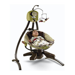 Fisher-Price - Zen Cradle Swing - Features: -Balance between comfort and function.-Soothes baby by rocking side-to-side and front-to-back.-Surrounds baby in soft fabrics and a variety of soft music.-Plush seat is removable, with wood handles that let you take baby from room to room.-Requires 4 D batteries.-Additional features include 3-point harness, 2-position recline.-Machine-washable seat pad, pillow and attached blankets.-Features rich textures, earthy colors and beautiful wood accents.-Zen collection.-Collection: Zen.-Product Type: Swing.-Distressed: No.-Non Toxic: Yes.-Lifestage: Baby.-Foldable: Yes -Travel Bag: No..-Musical: Yes.-Power Swinging: Yes.-Battery Operated: Yes -Battery Type: D.-Batteries Included: No..-Lights: No.-Snack Tray: No.-Lightweight: Yes.-Canopy: No.-Harness: Yes -Type of Harness: 3-Point.-Adjustable Harness: No.-Padded Harness: No..-Adjustable Seat: Yes.-Removable Seat: Yes -Machine Washable : Yes..-Padded Seat: Yes.-Wheels: No.-Outdoor Use: No.-Weight Capacity: 25.-Swatch Available: No.-Commercial Use: No.-Recycled Content: No.-Eco-Friendly: No.Dimensions: -Overall Height - Top to Bottom: 44.-Overall Width - Side to Side: 36.-Overall Depth - Front to Back: 30.Assembly: -Assembly Required: Yes.-Additional Parts Required: No.Warranty: -Product Warranty: 90 day limited warranty.