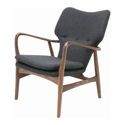 "Nuevo Living - Patrik Modern Lounge Chair by Nuevo Living - The Patrik Lounge Chair by Nuevo Living is boasts the pleasant and contemporary aesthetic of hardwood and fabric. Constructed from American Ash, the curvature of Patrik's styling will add depth to any modern space. Its cushioning is covered in a woolen blend (60% wool, 30% viscose, 10% polyester) furthering the comfort of this piece. Patrik measures 34.25"" high, 31.25"" wide and is 27.25"" in depth. Its seat sits 17.5"" from the ground and is 18.25"" deep. The armrests of this chair are 25.75"" in height. Patrik weighs 26.5 pounds and will arrive to you by freight carrier."