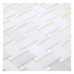 All Marble Tiles - Thassos White Marble Polished Basketweave Mosaic - White has always been a color of elegance and you can choose it as a theme for your interior when you purchase the Thassos White Marble Collection. This tiles spark beauty wherever they are installed; in the bathroom, kitchen, living room or even out door. Using either a classic or modern style approach, it's about time you transformed how your house looked with Thassos marble tiles.