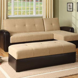 Asia Direct Home - 3 Pc Sectional Sofa Bed with Storage - Convertible sectional sofa bed with storage. Love seat and chaise with storage compartment. Seating upholstered in taupe microfiber. Sides and arms upholstered in by-cast vinyl.