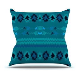 "KESS InHouse - Nina May ""Turquoise Nava"" Teal Tribal Throw Pillow, Outdoor, 18""x18"" - Decorate your backyard, patio or even take it on a picnic with the Kess Inhouse outdoor throw pillow! Complete your backyard by adding unique artwork, patterns, illustrations and colors! Be the envy of your neighbors and friends with this long lasting outdoor artistic and innovative pillow. These pillows are printed on both sides for added pizzazz!"