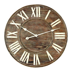 Distressed European Wall Clock - Timing is everything indeed in the instance of this distressed wall clock with wood finished background and painted creamy colored numbers.