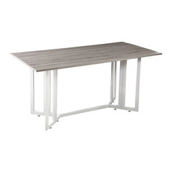 Driness Drop-Leaf Table, Weathered Gray - A dream come true for the urban apartment or other small space, this multi-functional Driness drop leaf table easily converts from dining table to console to open up your space. A charming gateleg design with clean, modern lines, makes transforming this table a breeze. The tabletop is finished in a weather gray while the metal base is finished in a bright white. Add colorful chairs for a wonderful modern look that seats four to six guests or tucks away when not in use.