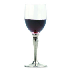 "Match - Match Red Wine Glass-set of two - Handmade in Italy, Match stemware lends elegance to any setting. The red wine glass is made of crystal and pewter. Dimensions: 7.7""H."