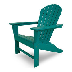 Polywood - Eco-friendly Adirondack Armchair in Aruba - Beach bodies will enjoy the roomy seat and curved back of this comfortable chair. Want to turn your outdoor living space into the hottest spot in the neighborhood? Its easy with the South Beach Collection. Just like the popular Miami Beach scene, You'll enjoy an eclectic blend of bold art deco along with the relaxed comfort and style that you've come to expect from traditional Adirondack furniture. This collection not only looks amazing, but its also built to last for years to come. Provides the look of painted wood without the maintenance