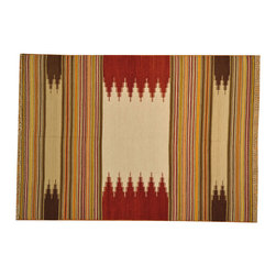 100% Wool Flat Weave Hand Woven Multicolored Durie Kilim 6'x8' Rug SH14909 - Soumaks & Kilims are prominent Flat Woven Rugs.  Flat Woven Rugs are made by weaving wool onto a foundation of cotton warps on the loom.  The unique trait about these thin rugs is that they're reversible.  Pillows and Blankets can be made from Soumas & Kilims.