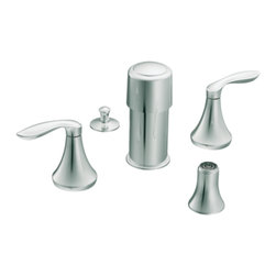 "Moen - Moen T5220 Chrome Bidet Faucet Trim Two Lever Handle 8""-16"" Center, ADA - Moen T5220 is part of the Eva Bath collection. Moen T5220 is a new style bathroom, Bidet faucet trim. Moen T5220 has a Chrome finish. Moen T5220 two handle widespread Bidet faucet mounts in a 3-hole 8"" - 16"" Center bidet. Moen T5220 two handle widespread trim requires Moen's 9430 MPact Bidet Rough-in valve to make this faucet complete. Moen T5220 is part of the Eva collection, with sophisticated lines and elegant transitional design giving today's home that timeless appeal. Moen T5220 is not recommended for non-rim flush fixtures. Moen T5220 two lever handle provides ease of operation. Chrome is a proven finish from Moen and provides style and durability. Moen T5220 metal lever handle meets all requirements ofADA ICC/ANSI A117.1 and ASME A112.18.1/CSA B125.1, NSF 61/9 and proposition 6"". Water Sense Certified. Lifetime limited Warranty."