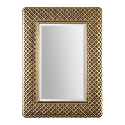 """Uttermost - 08115 Carressa - 42 Decorative Mirror Lightly Antiqued Gold Leaf Finish - Decorative frame with a lightly antiqued gold leaf finish and a dark gray glaze accent the generous 1 1/4"""" beveled mirror. May be hung horizontal or vertical."""