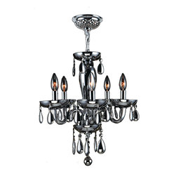 """Worldwide Lighting - Gatsby 5 Light Chrome Finish and Smoke Blown Glass Chandelier 16"""" D x 18"""" H Mini - This stunning 5-light Chandelier only uses the best quality material and workmanship ensuring a beautiful heirloom quality piece. Featuring a radiant chrome finish and blown glass in translucent smoke finish, this elegant chandelier is a work of art in its quality and beauty. Worldwide Lighting Corporation is a privately owned manufacturer of high quality crystal chandeliers, pendants, surface mounts, sconces and custom decorative lighting products for the residential, hospitality and commercial building markets. Our high quality crystals meet all standards of perfection, possessing lead oxide of 30% that is above industry standards and can be seen in prestigious homes, hotels, restaurants, casinos, and churches across the country. Our mission is to enhance your lighting needs with exceptional quality fixtures at a reasonable price."""
