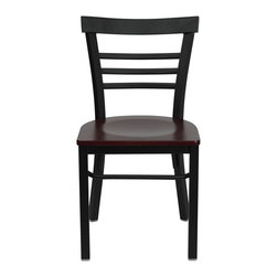 """Flash Furniture - HERCULES Series Black Ladder Back Metal Restaurant Chair - Mahogany Wood Seat - Provide your customers with the ultimate dining experience by offering great food, service and attractive furnishings. This heavy duty commercial metal chair is ideal for Restaurants, Hotels, Bars, Lounges, and in the Home. Whether you are setting up a new facility or in need of a upgrade this attractive chair will complement any environment. This metal chair is lightweight and will make it easy to move around. This easy to clean chair will complement any environment to fill the void in your decor.; Heavy Duty Metal Restaurant Chair; Ladder Style Back; .75"""" Thick Plywood Seat; Mahogany Finished Wood Seat; 18 Gauge Steel Frame; Welded Joint Assembly; Curved Support Bar; Black Powder Coated Frame Finish; Plastic Floor Glides; Designed for Commercial Use; Suitable for Home Use; Assembly Required: Yes; Country of Origin: China; Warranty: 2 Years; Weight: 24 lbs.; Dimensions: 31.75""""H x 16""""W x 19.5""""D"""