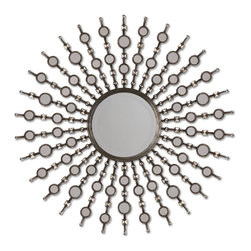 Uttermost - Kimani - Frame is finished in antiqued silver with burnished details and features numerous, small accent mirrors. Center mirror is beveled.