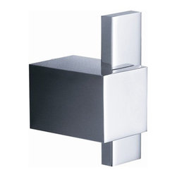 """Ellite Robe Hook Chrome - All of our Fresca bathroom accessories are made with brass with a triple chrome finish and have been chosen to compliment our other line of products including our vanities, faucets, shower panels and toilets.  They are imported and selected for their modern, cutting edge designs.  Dimensions:  1""""W x 1.5""""D x 2""""H. Heavy Duty Brass with Triple Chrome Finish"""