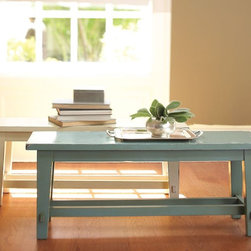 Blakely Rustic Bench - I love the idea of using a bench as a coffee table in a family room. It's low maintenance, and with this price you won't be too worried if the kids decide to make their art right on top of it.