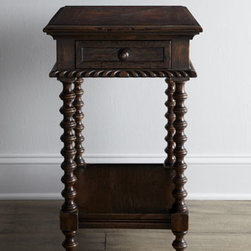 "Ambella - Ambella ""Carmelita"" Side Table - Mahogany-finished, single-drawer side table with spool legs makes a delightful addition to your decor. Handcrafted of select hardwoods. 17""W x 23""D x 28""T. Imported. Boxed weight, approximately 33 lbs. Please note that this item may require additio..."