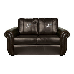 Dreamseat Inc. - Skiing Downhill Chesapeake BROWN Leather Loveseat - Check out this awesome Loveseat. It's the ultimate in traditional styled home leather furniture, and it's one of the coolest things we've ever seen. This is unbelievably comfortable - once you're in it, you won't want to get up. Features a zip-in-zip-out logo panel embroidered with 70,000 stitches. Converts from a solid color to custom-logo furniture in seconds - perfect for a shared or multi-purpose room. Root for several teams? Simply swap the panels out when the seasons change. This is a true statement piece that is perfect for your Man Cave, Game Room, basement or garage.