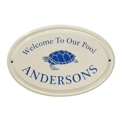 White Hall Turtle Ceramic Oval Address Plaque - Make a statement with the White Hall Turtle Ceramic Oval Address Plaque. Whether for an address or just a sign, this charming plaque offers an attractive accent with 2 lines for text and a cute sea turtle graphic. Choose from color options to match your outdoor decor. Easy to install and highly visible.About Whitehall ProductsWhitehall Products are known as the world's leading manufacturer of weathervanes and is equally as respected for their high quality personalized home wall plaques. They also offer a wide variety of mailboxes, garden accents, hose holders, birdbaths, bird feeders, sundials, and more. Each offers an original design and is hand cast for the highest quality product available. Based in Montague Michigan, Whitehall has been producing these popular products for over 65 years.