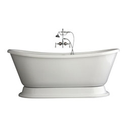 "Baths of Distinction - Hotel Collection Bateau Double Slipper Pedestal Bathtub/Faucet Package, Wall Mou - Package consists of a beautiful 67""bateau double slipper pedestal bathtub along with hardware including wall mounted faucet with handheld shower and drain with lift off stopper all in chrome. Bathtub is made of CoreAcryl acrylic with a resin/powdered stone filler.  Bathtub has a built in aluminum heat barrier within the tub body.  This tub is an nice soaking tub with good leg room and a nice depth."