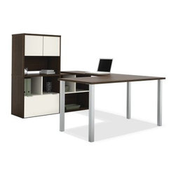 Bestar 50851-60 Contempo U-Shaped Desk with Storage Unit - Tuxedo / Sandstone - Those who immerse themselves in work will love the Bestar 50851-60 Contempo U-Shaped Desk with Storage Unit – Tuxedo / Sandstone. This collection will surround you with all the necessities providing you a sleek efficient workspace. Deluxe shock-resistant PVC edge banding scratch- and stain-resistant surfaces and robust metal legs for support make for one dependable desk. Available in two-tone tuxedo and sandstone finishes. About BestarEstablished in 1948 and based in Canada Bestar is a third-generation family business involved in the design manufacturing and distribution of a wide range of ready-to-assemble furniture and furniture components. Bestar's mission is to create produce and distribute mid- to high-end ready-to-assemble furniture for home offices small commercial offices and home entertainment. Bestar offers a combination of price quality and service that exceeds the expectations of customers and consumers.