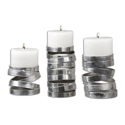 Uttermost - Tamaki Silver Candleholders, S/3 - Abstract In Design, These Candleholders Feature A Metallic Silver Finish. Distressed White Candles Included. Sizes: Sm-5x4x5, Med-5x6x5, Lg-5x8x5.