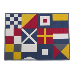 "Thomas Paul - Sailing Flags Tea Towel - The handmade Thomas Paul Sailing Flags Tea Towel features hand screened prints on 100% cotton. The towel features the nautical imagery of sailing flags reminding us of a day out on the water. Tea towels are the utility item of your kitchen.  Use them to wipe down your clean dishes, wrap fresh muffins in a basket, or under bowls to keep them steady while you are mixing up your next delicious delight. We also love incorporating them into tablescapes or using them as colorful place mats.  The yellow, red & blue colors add a pop of color to your kitchen or dining room.   About the Artist: After graduating from NYC's famed FIT, Thomas Paul started his career as a colorist and designer at a silk mill. Eventually, he leveraged his knowledge of silk materials & print to launch a neckwear line of his own. Over time, Paul loved the idea of applying menswear print and design into a collection of home decor, which is what we see in his goods today. His background has embedded in him a passion for quality production techniques. Even as his brand grows, he continues to ensure all of his prints are hand screened - a slow, detailed process that results in each piece being a unique piece of artwork. Paul also pushes the envelope in terms of bold prints and hand ground materials.       ""My vision for the thomaspaul brand has always been about combining classic design motifs from different periods in textile design. Incorporating anything from an 18th century Damask pattern to a camouflage print. The unifying thread between so many different styles is to change the designs so they are updated for today. For me this means changing the scale, so they are always bold, and reducing down the colors and details, so most designs are reduced to two or three colors and become very flat, bold prints. I am always looking to vintage fabrics and motifs for inspiration and new ideas, but always try to update these to look good for today."" - Thomas Paul   Product Details:"