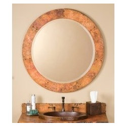 KCK Bathroom Mirrors & Accessories - Tuscany Round Mirror - The Tuscany round mirror from Native Trails has an old world design with contemporary styling. The beveled mirror is a nice accent to the one of a kind copper patina finish on this circular mirror frame.