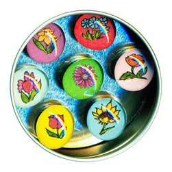 "Flower Garden Glass Gem Magnet Set - Handmade in our studio, the Flower glass gem magnets started with a tiny watercolor paintings which are reproduced, and then sealed under glass. We use super strong ceramic magnets, so they're not only cute, they're functional. Set includes a pink daisy, poppy, iris, daffodil, tulip, sunflower and forget-me-nots. Each magnet is about 3/4 inch wide, the tin is 2.75"" wide. Set of 7 in a tin. Made in the USA. 3/4"" wide. Set of 7 in a tin."