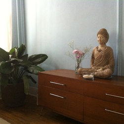 Enlightened Buddha - Enlightened Buddha garden statue. Even though it was made for the garden, it looks beautiful in my bedroom!