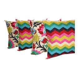 Land of Pillows - Panama Wave and Santa Maria Desert Flower Decorative Throw Pillows - Set of 4, 2 - Fabric Designer - Waverly