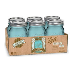 Ball American Heritage Collection Vintage Mason Jars - These 100th Anniversary Ball jars are tinted blue to look like the originals. Use them to serve drinks, display candles or for crafts.