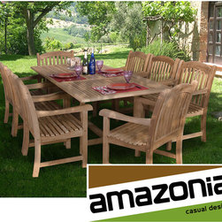 Amazonia - Cannes Rectangular 9-piece Teak Dining Set - Entertain a large group of family or friends in style with this gorgeous teak dining set. Made from light brown teak wood,this table is weather resistant and UV protected. The table measures 29 inches high x 39 inches wide x 67 to 87 inches deep.