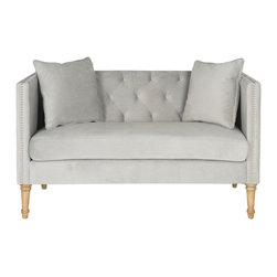 Safavieh sarah tufted settee with throw pillows grey for Button tufted chaise settee velvet aubergine