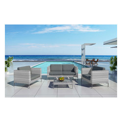 Ibis 4-Piece Modern Outdoor Sofa Set, Charcoal Cushions