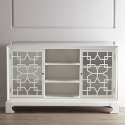 Horchow - Morning Star Chest - Crisp, clean lines enhanced with fretwork detailing on the doors make this chest a striking addition to any living space. A three-port electrical outlet near the top of the middle section and shelves with cutouts in back for easy access to cords add to....