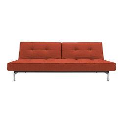 """Innovation"" Splitback Burned Orange Sofa Bed / Stainless Steel Legs - Features:"